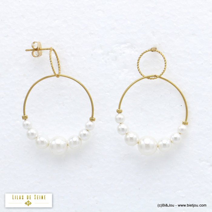 earrings 0320198-14 hoop minimalist in metal with pearl geometric and double round women 40x30mm