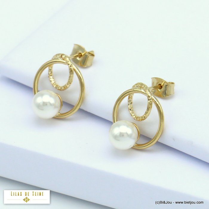 earrings 0320199-14 hoop mini minimalist in metal with pearl geometric double round women 13mm