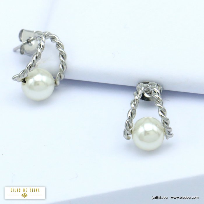 earrings 0320200-13 mini half-hoop chic twisted metal with acrylic pearl women 15mm