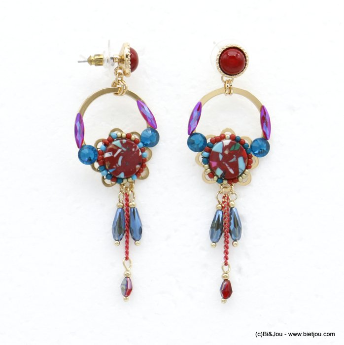 earrings 0320519-12 flower butterfly clasp reconstituted stone-metal-crystal-seed beads 26x80mm