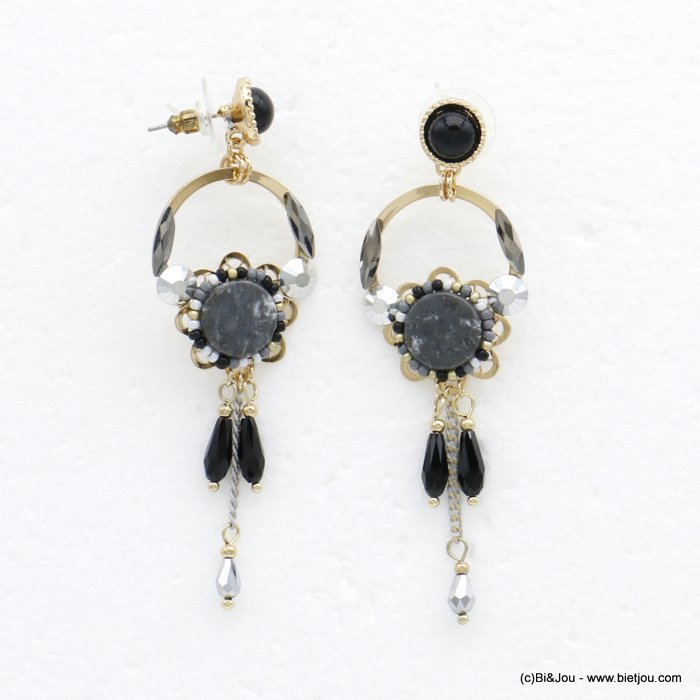 earrings 0320519-26 flower butterfly clasp reconstituted stone-metal-crystal-seed beads 26x80mm