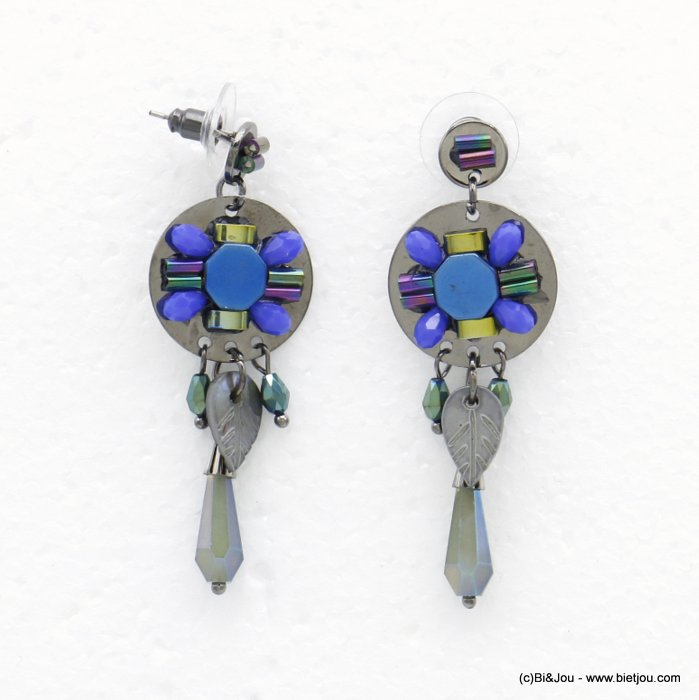earrings 0320522-09 butterfly clasp shell-metal-crystal-glass 20x57mm