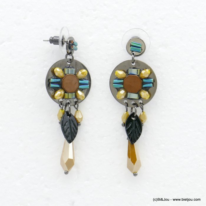 earrings 0320522-43 butterfly clasp shell-metal-crystal-glass 20x57mm