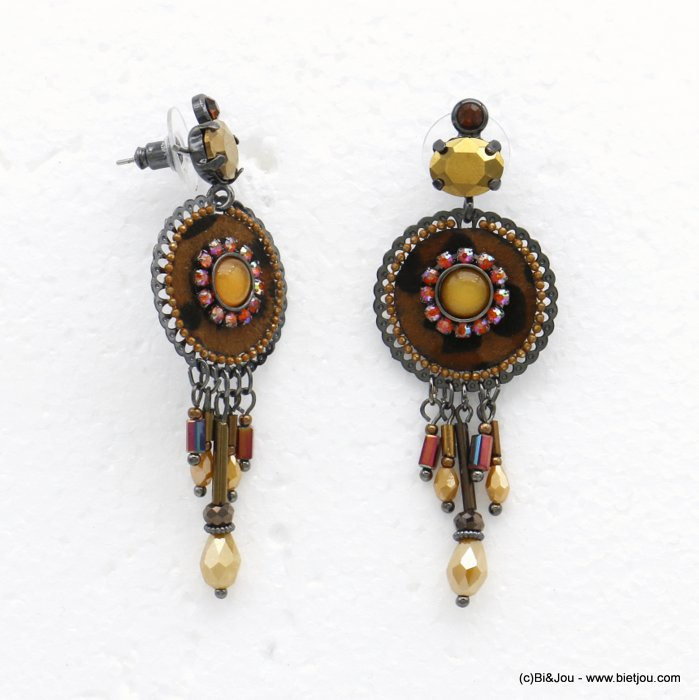 earrings 0320528-02 leopard-print butterfly clasp synthetic-resin-metal-crystal-glass-strass 25x70mm