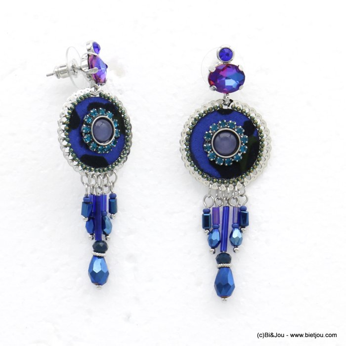 earrings 0320528-09 leopard-print butterfly clasp synthetic-resin-metal-crystal-glass-strass 25x70mm
