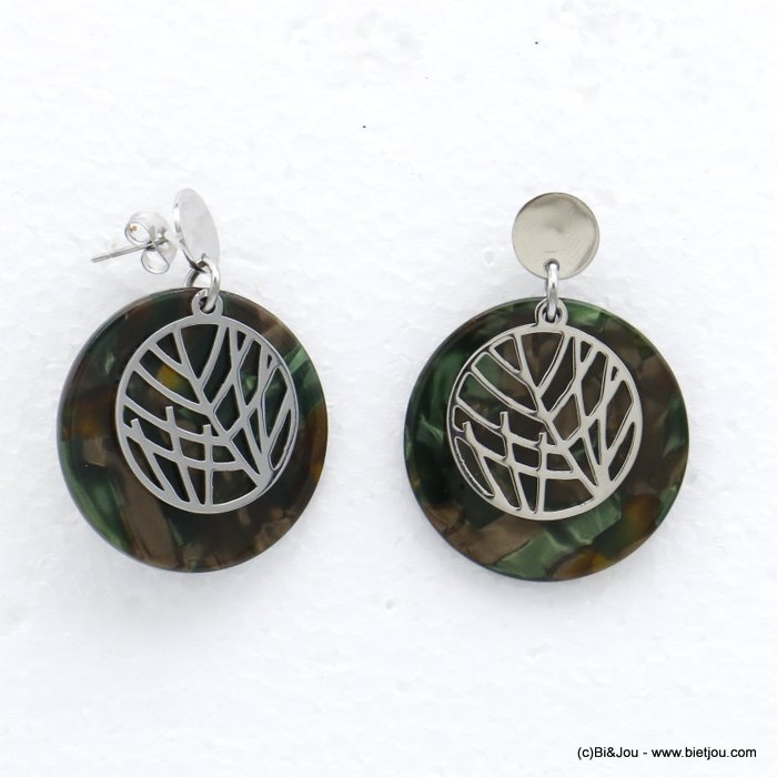 earrings 0320530-29  dangle minimalist in tortoise shell (resin) stainless steel with pendants geometric and leaf for women 35x3