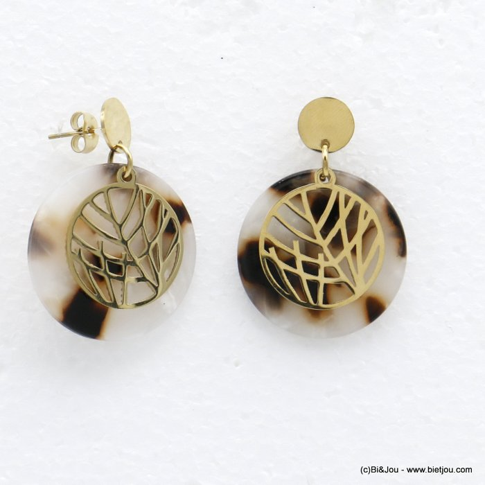 earrings 0320530-33  dangle minimalist in tortoise shell (resin) stainless steel with pendants geometric and leaf for women 35x3