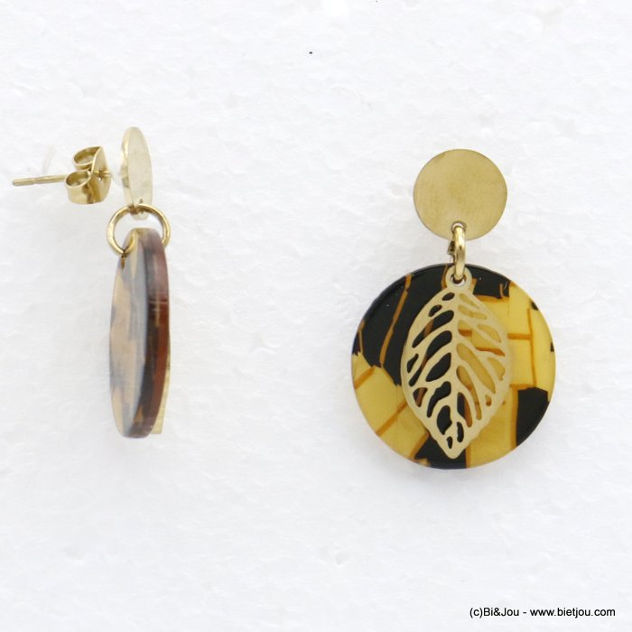 earrings 0320531-02  dangle minimalist in tortoise shell (resin) stainless steel with pendants geometric and leaf for women 30x2