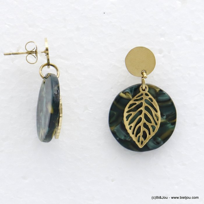 earrings 0320531-29 dangle minimalist in tortoise shell (resin) stainless steel with pendants geometric and leaf for women 30x2