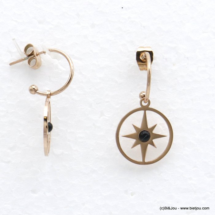 earrings 0320536-01 dangle half-hoop minimalist with natural stone stainless teel with pendants north star women 30x15mm