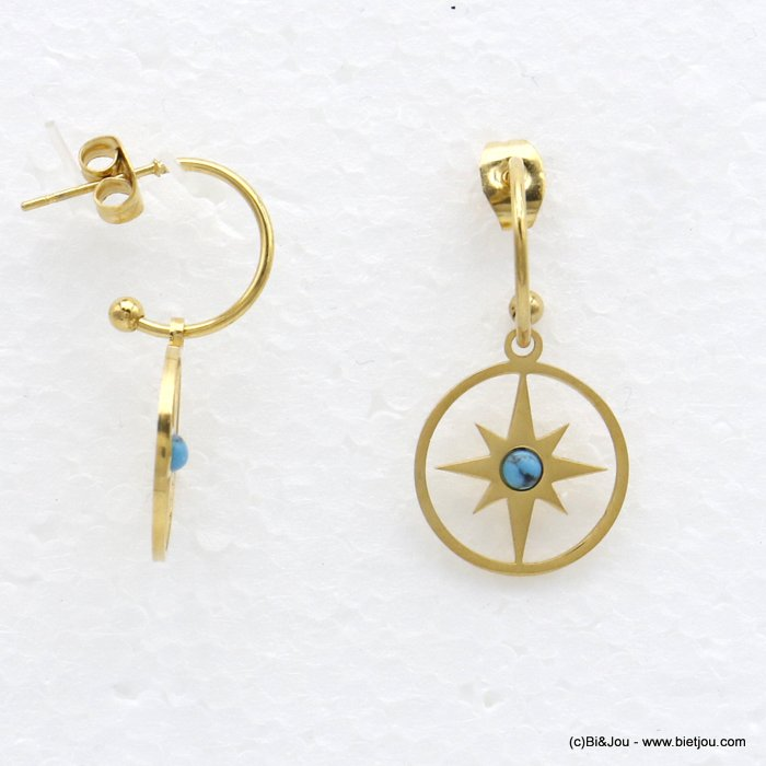 earrings 0320536-17 dangle half-hoop minimalist with natural stone stainless teel with pendants north star women 30x15mm