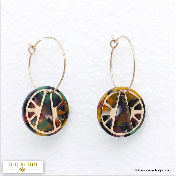 earrings 0320542-99 hoop tortoise shell resin stainless steel dangle woman 20x40mm