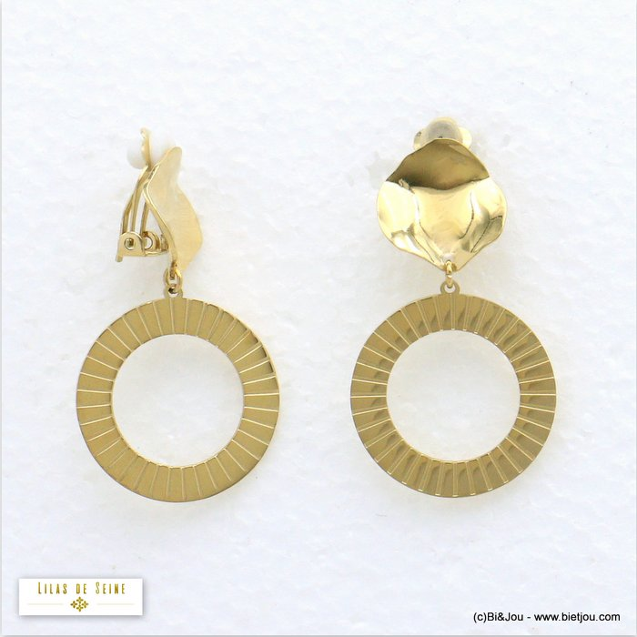 earrings 0320561-14 clip-on stainless steel woman 24x35mm