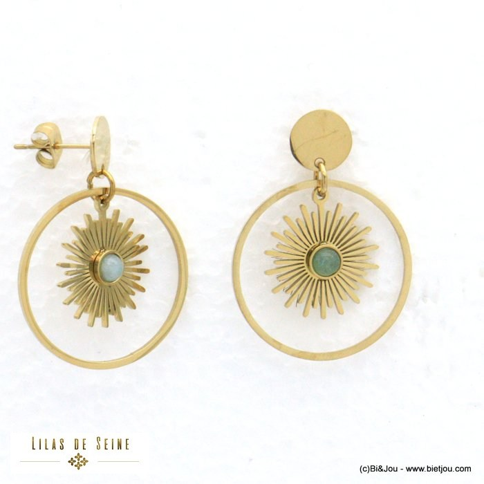 earrings 0320562-07 stainless steel sun stone woman butterfly clasp 23x33mm
