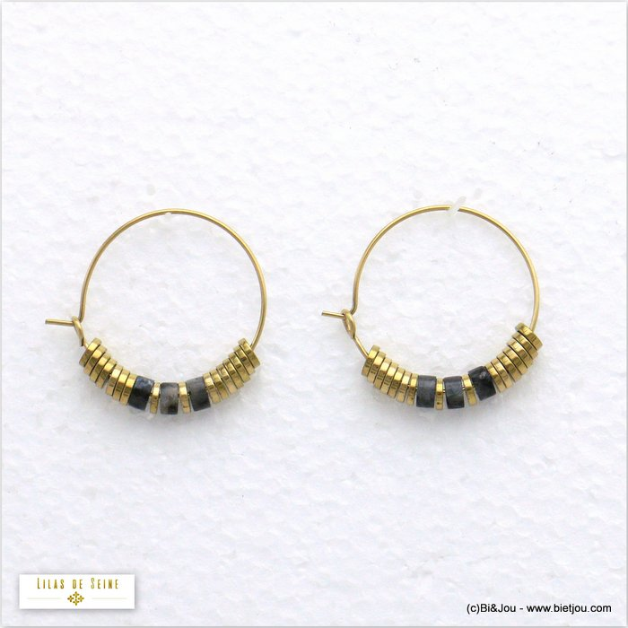 earrings 0320575-01 hoop stainless steel stone woman diameter 25mm