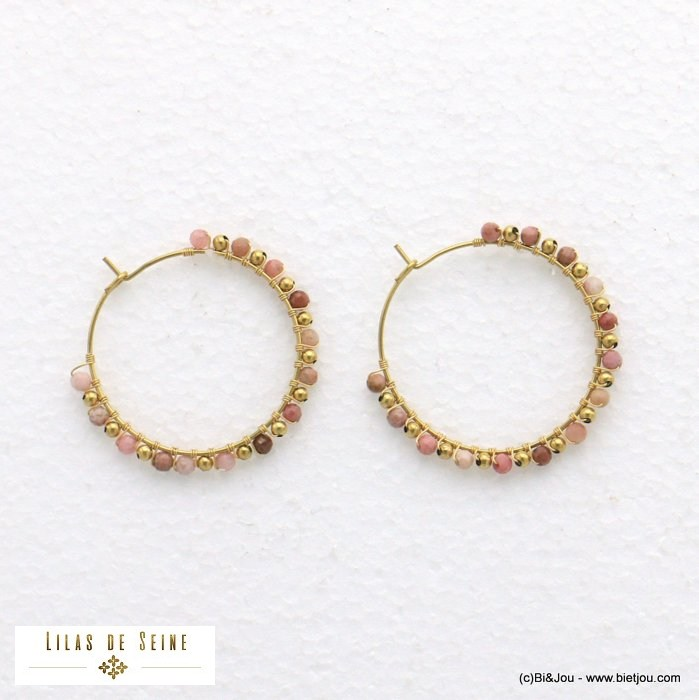 earrings 0321010-18 hoop stainless steel stone woman diameter 35mm