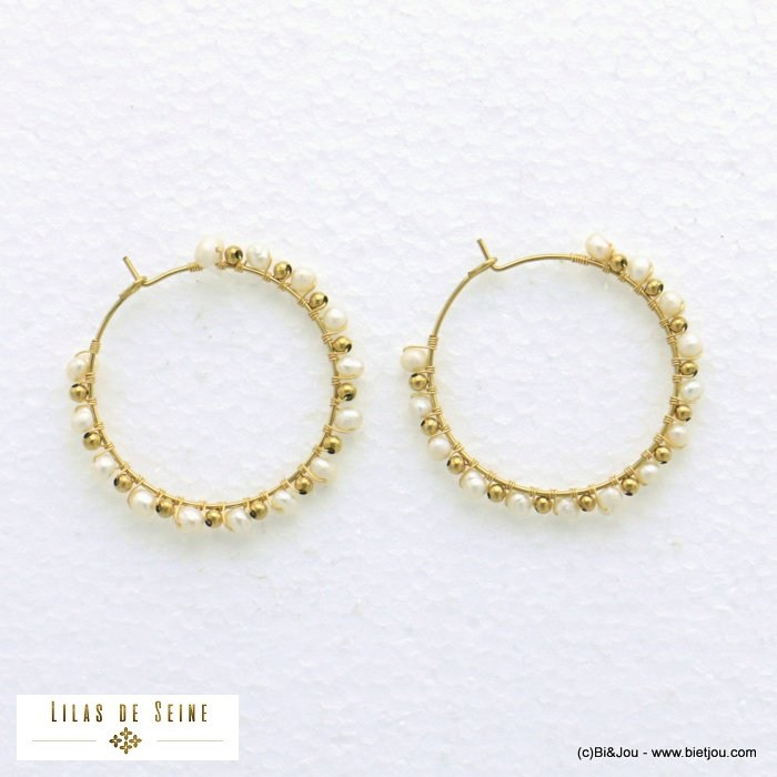 earrings 0321010-19 hoop stainless steel pearl woman diameter 35mm