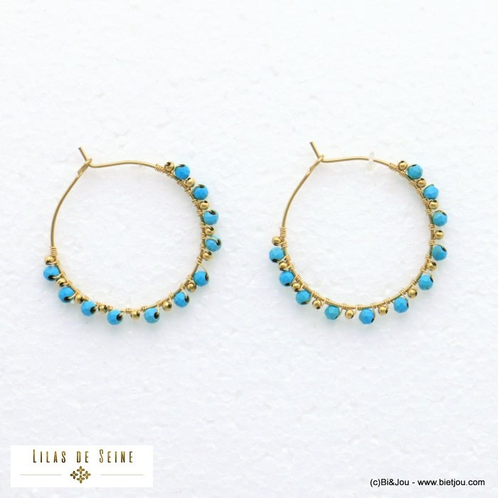 earrings 0321010-38 hoop stainless steel stone woman diameter 35mm