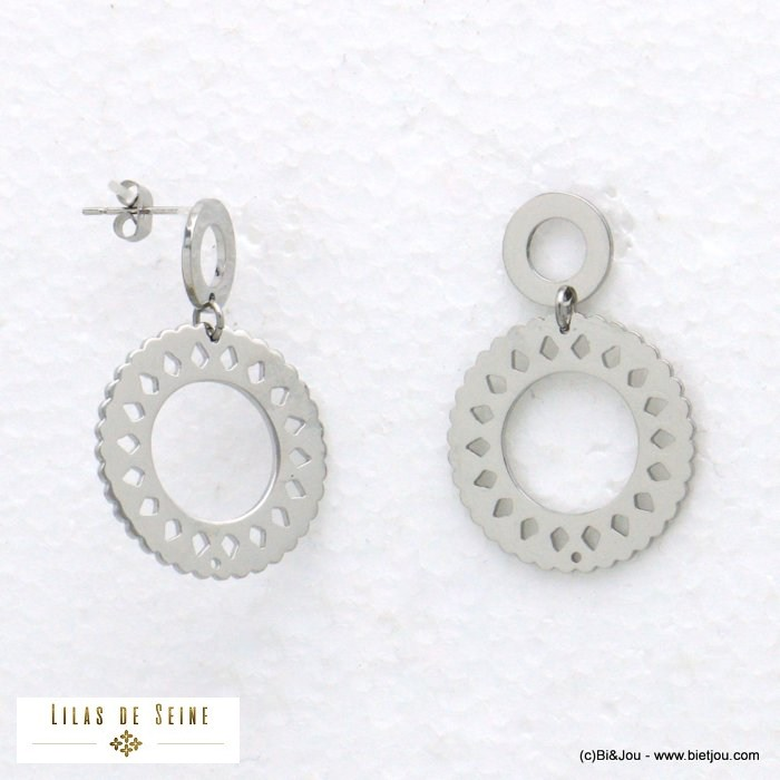 earrings 0321011-13 2-ring stainless steel butterfly clasp woman 23x34mm