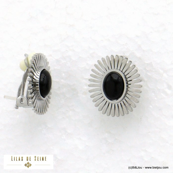 earrings 0321029-13 clip-on sun stainless steel stone woman 15x17mm