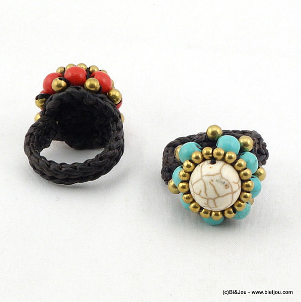 finger ring 0416009-19 23mm reconstituted stone-polyester-metal