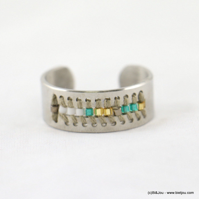 finger ring 0417023-19 stainless steel-polyester-seed beads