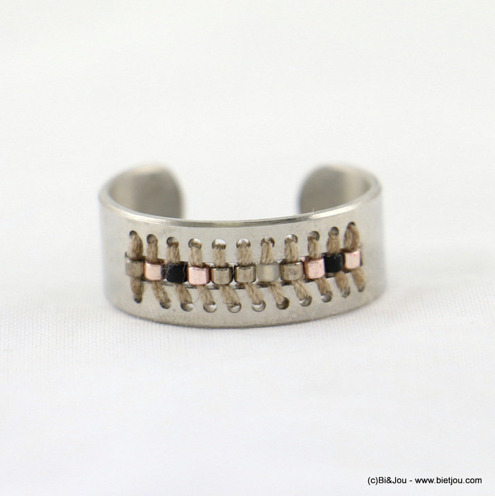 finger ring 0417023-33 stainless steel-polyester-seed beads