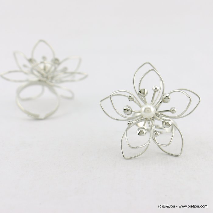 finger ring 0418030-13 women adjustable metal flower faux-pearl 40mm