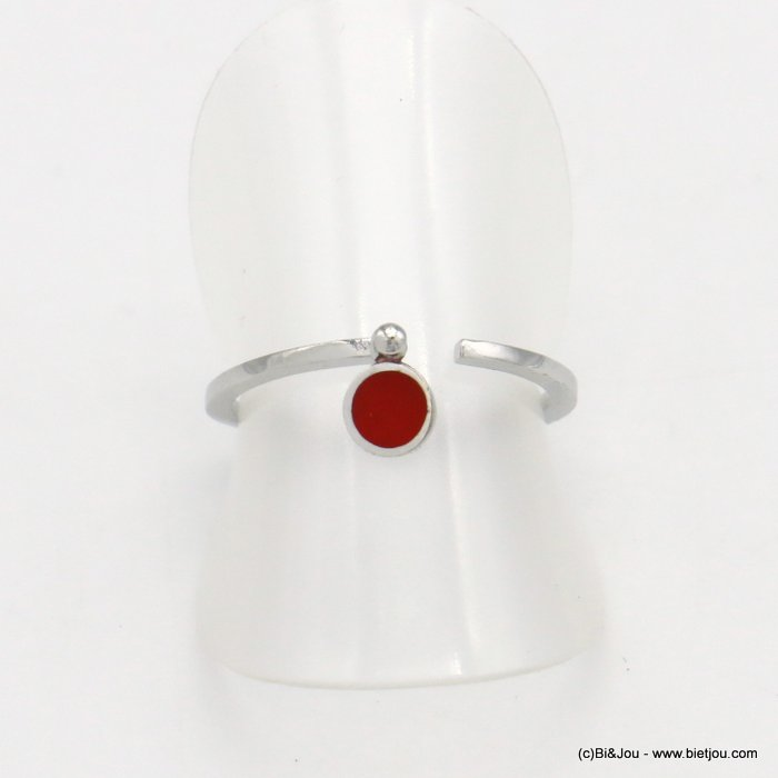 finger ring 0418035-12 minimalist open metal enamel 17mm