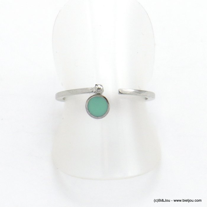 finger ring 0418035-17 minimalist open metal enamel 17mm