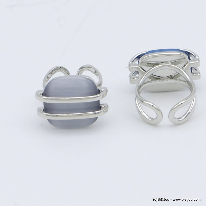 "finger ring 0418508-25 ""cat eye"" adjustable glass-metal 18x20mm"