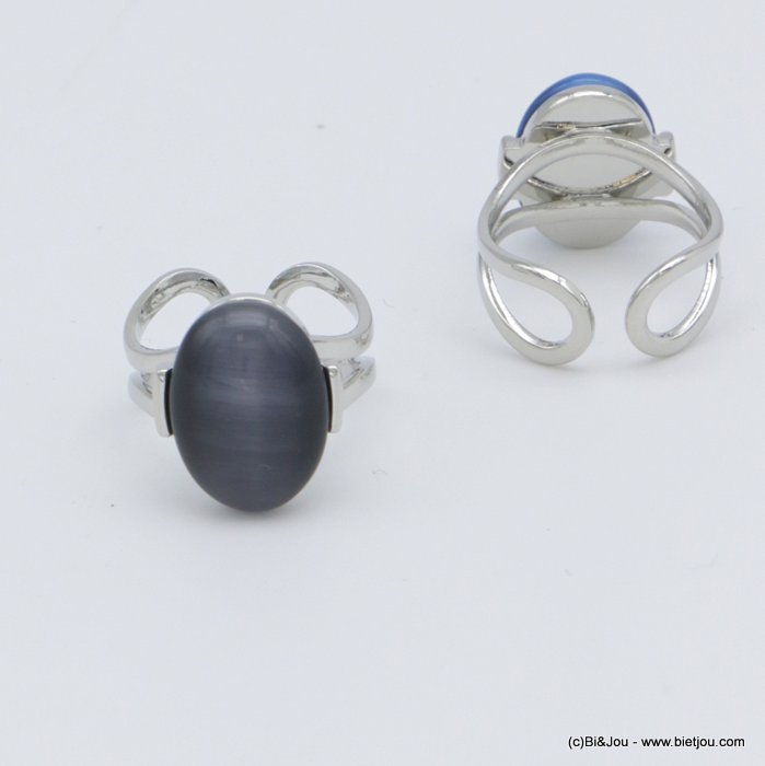 "finger ring 0418509-26 ""cat eye"" adjustable glass-metal 14x20mm"