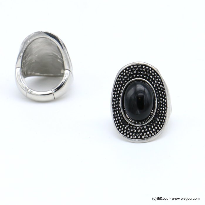 finger ring 0418517-01 western country style unisex oval adjustable elastic aged metal stone 17x28mm
