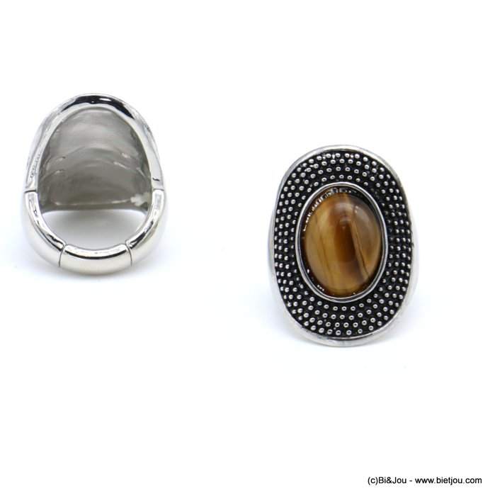 finger ring 0418517-02 western country style unisex oval adjustable elastic aged metal stone 17x28mm