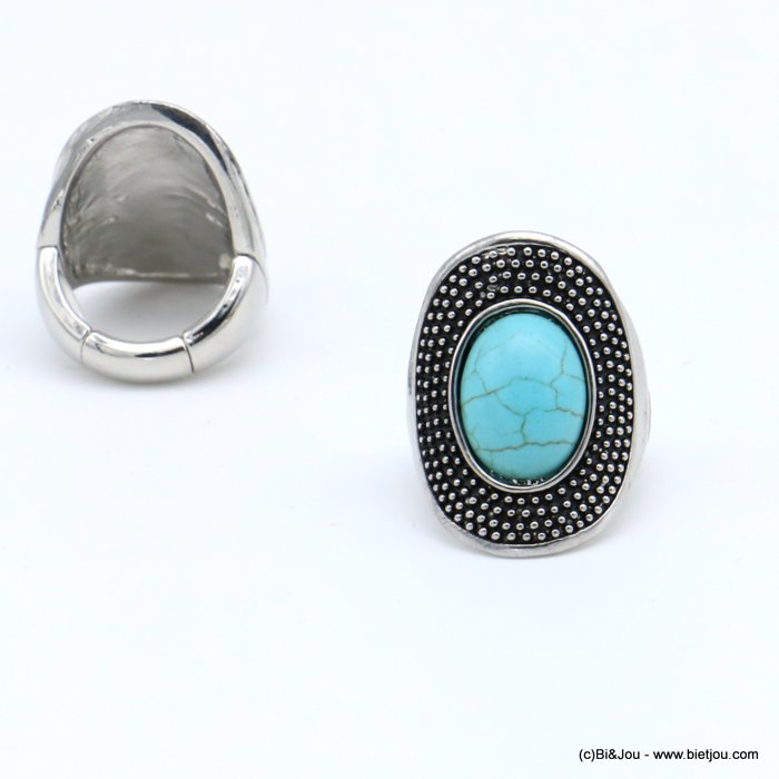 finger ring 0418517-17 western country style unisex oval adjustable elastic aged metal stone 17x28mm