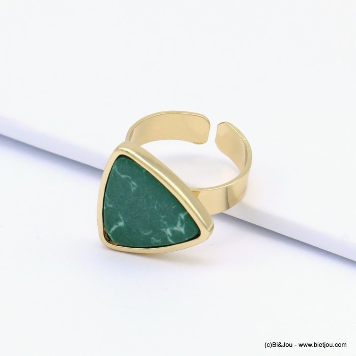 ring 0419121-07 open, adjustable, golden brass, rounded marble triangle