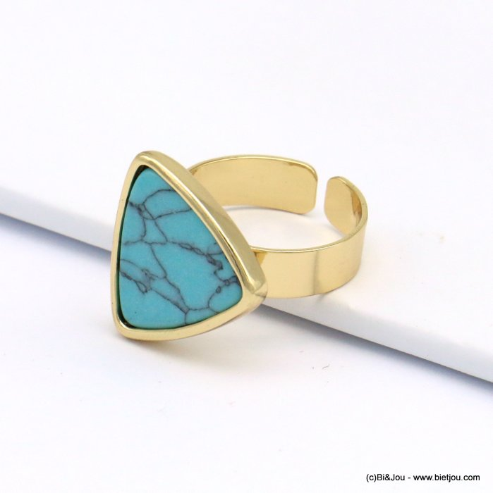 ring 0419121-17 open, adjustable, golden brass, rounded marble triangle