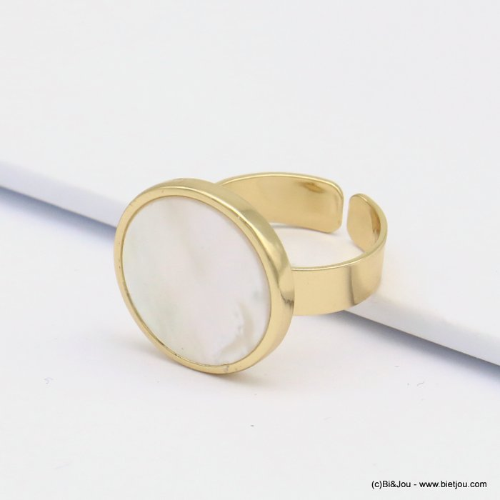 ring 0419123-06 open, adjustable, golden brass, shell round