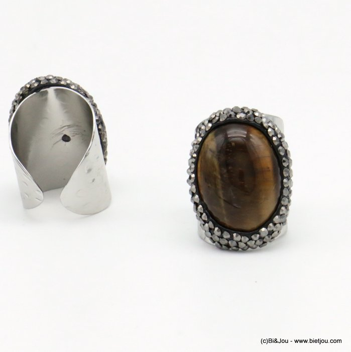 ring 0419501-02 opened adjustable stone-metal-crystal 21x30mm