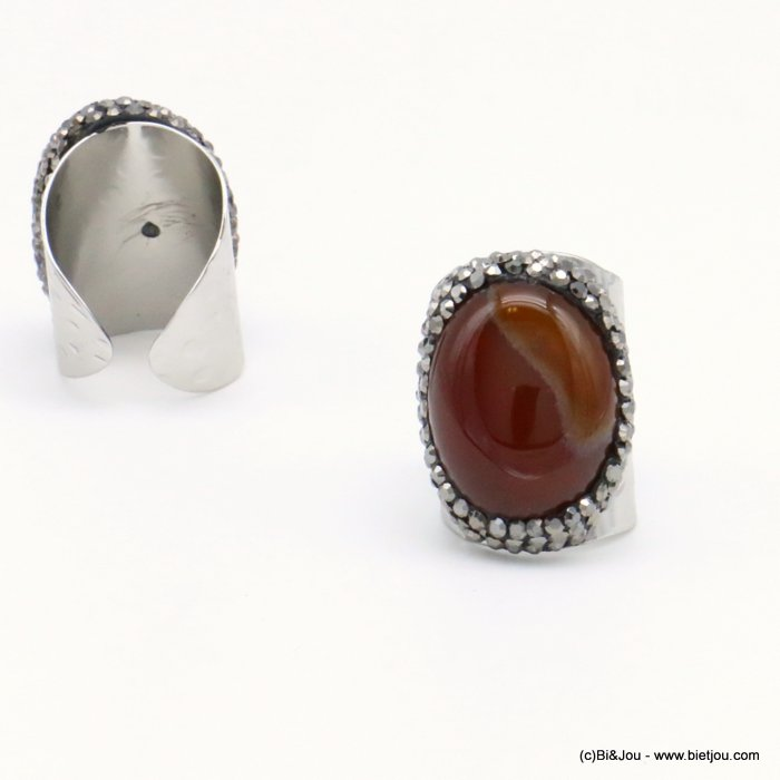 ring 0419501-11 opened adjustable stone-metal-crystal 21x30mm