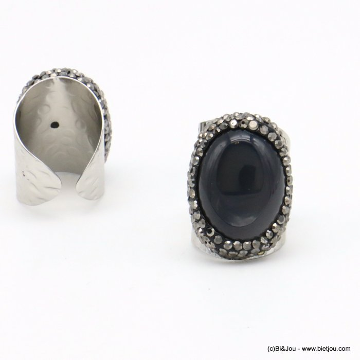 ring 0419501-25 opened adjustable stone-metal-crystal 21x30mm