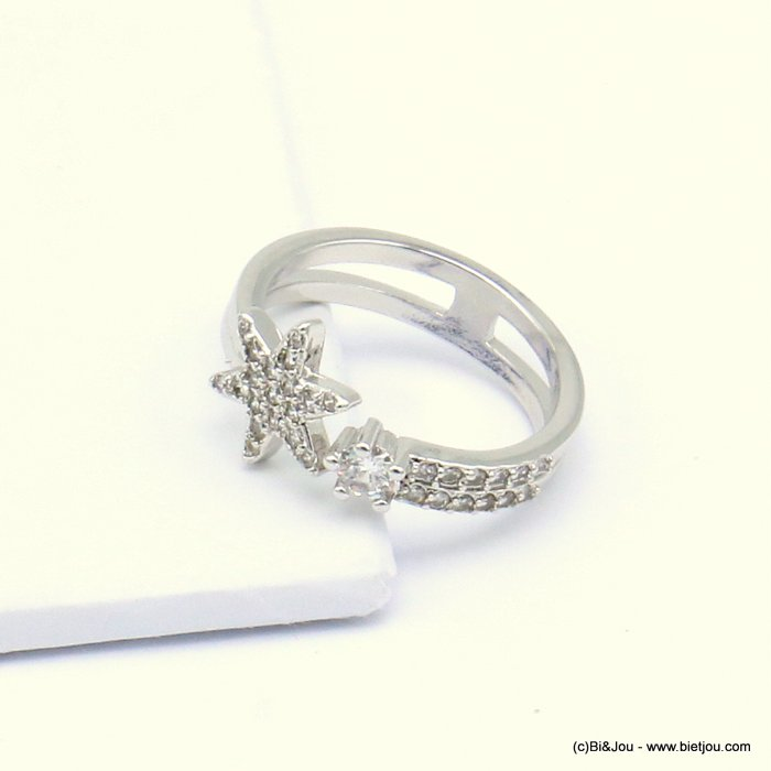 ring 0419504-13 star opened adjustable metal-strass