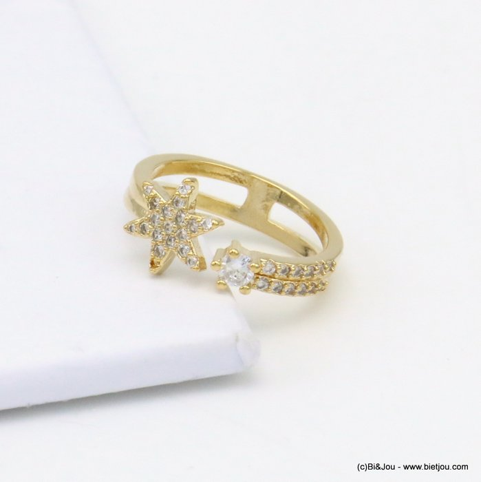 ring 0419504-14 star opened adjustable metal-strass
