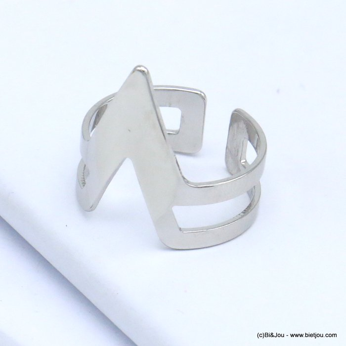 finger ring 0419514-13 contemporary design metal open adjustable woman 17x20mm