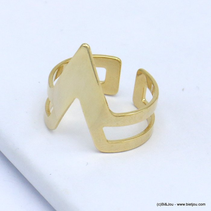 finger ring 0419514-14 contemporary design metal open adjustable woman 17x20mm