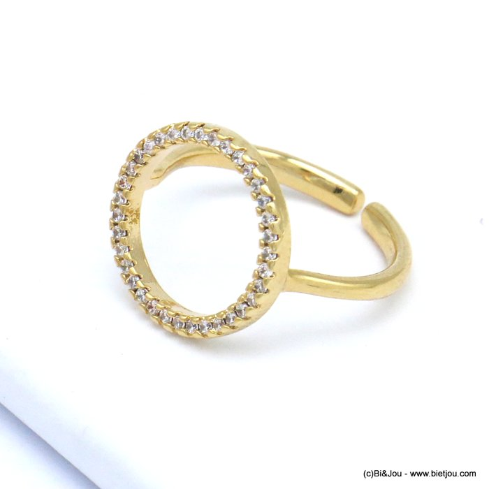 finger ring 0419516-14 rhinestone ring metal open adjustable woman 17x14mm