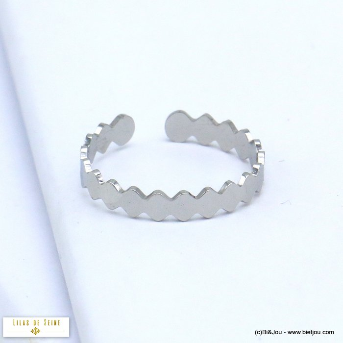 finger ring 0419520-13 adjustable thin stainless steel 16x3mm