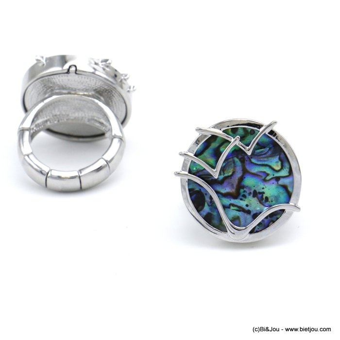 finger ring 0420003-29 round adjustable abalone shell metal elastic woman 24x17mm