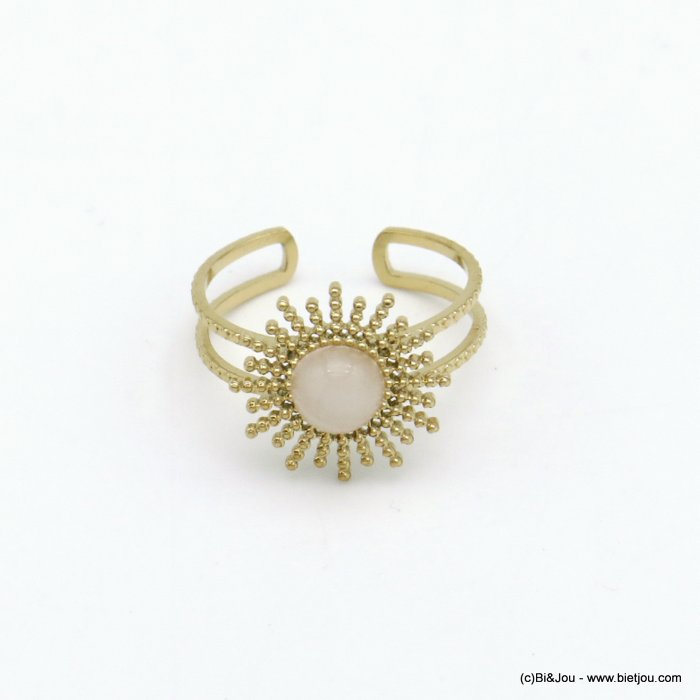 finger ring 0420004-27 stainless steel sun natural cabochon stone open adjustable woman 14x17mm