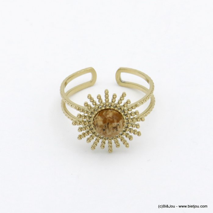 finger ring 0420004-30 stainless steel sun natural cabochon stone open adjustable woman 14x17mm